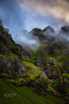 """"""" Cold Misty Morning In Iceland """" - Hiking up through Iceland and the week I was there to shoot the clouds were very low. It was so amazing to see the clouds settle around the mountain peaks. Something that seems like it should be out of Game Of Thrones or the Hobbit."""