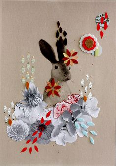 Lovely rabbit collage by Kup Kup Land (another sweet find via @Holly McClure !)