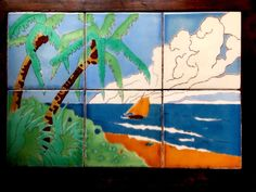 VINTAGE California Catalina Style Tropical Water & Boat Scene Tile Table | eBay Tile Tables, Vintage California, Treasure Hunting, Art Decor, Spanish, Tropical, Scene, Boat, Antiques