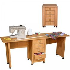 "Mobile Desk Double - folding desk for extra space (Oak) (29.5""H x 71""W x 18""D)"
