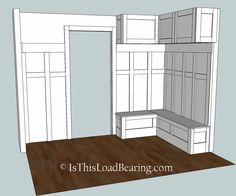 Mudroom storage bench plans And I built some rolling shoe storage to fit underneath the bench But we son t all have the space Check out these plans for a corner Mudroom Bench Plans, Mudroom Storage Bench, Mudroom Cubbies, Mudroom Laundry Room, Bench With Storage, Storage Ideas, Shoe Storage Benches, Pantry Storage, Kitchen Storage