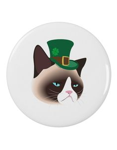 "TooLoud Leprechaun Disgruntled Cat 2.25"" Round Pin Button"
