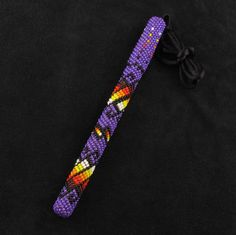 Purple Beaded Ink Pen Native American Beadwork