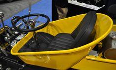 Just A Car Guy: Whee-Tee made from scratch, using a wheelbarrow for the roadster bucket – Spielzeug Soap Box Derby Cars, Soap Box Cars, Bike Wagon, Toy Wagon, Go Kart Plans, Diy Go Kart, E Motor, Solar Car, Drift Trike