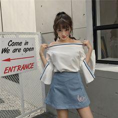 2017夏季新款韩版女装露肩一字领喇叭袖上衣宽松短袖T恤女学生潮-淘宝网全球站