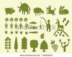 pine silhouette | Set of simple cartoon silhouettes of trees and animals, vectorial ...