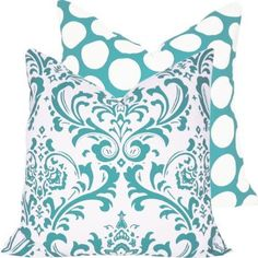 """Amazon.com: Turquoise Mist Collection - 18"""" Square Decorative Throw Pillow Cover - Damask and Polka Dots - White and Blue Hues - 1 Pillow Cover, 2 Looks: Home & Kitchen"""