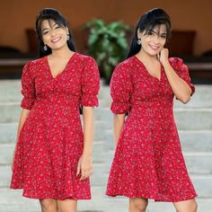 Red Color Stylish Short Frock Design