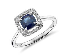 Floating Sapphire and Diamond Cushion-Cut Halo Ring in 14k White Gold (6mm) | Blue Nile- $3,500