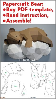 Papercraft Bear on a cloud, PDF template DIY papercraft little bear on a cloud sculpture, origami template Paper Crafts Origami, Diy Paper, Origami Lamp, Origami Templates, Card Making Kits, Paper Models, Kirigami, Paper Toys, Knife Making