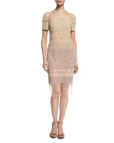 Pamella Roland Short-Sleeve Signature Ombre Sequin Dress, Champagne/Cognac