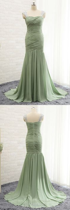 Beading Trumpet/Mermaid Prom Dresses, Long Formal Dresses, Green Prom Dresses, Modest Evening Party Gowns