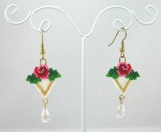 Beaded Rose Earrings with Swarovski Crystals от LazyRose на Etsy