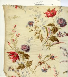 French floral print on crinkled cotton. 1891, no known manufacturer.