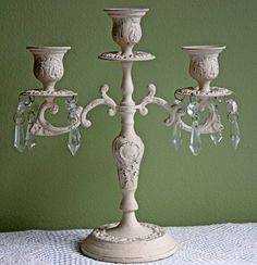 Candelabra.  Vintage Candelabra Made of Cast Iron and Painted Distressed White. Ornate Three Arm Candleholder with Dangling Crystals. by AnythingDiscovered on Etsy