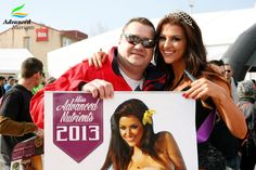 Fan poses with the calendar girl Borisa.