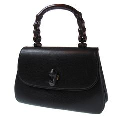 Authentic GUCCI Bamboo Hand Bag Black Leather Made In Italy Vintage Purse #538 #Gucci #HandBag