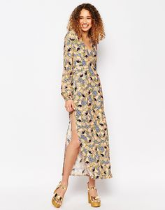 ASOS+AFRICA+x+Chichia+Long+Sleeve+Maxi+Dress+in+Geo+Floral