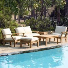 St. Barts 6 Piece Deep Seating Teak Set - Outdoor Furniture - Outdoor