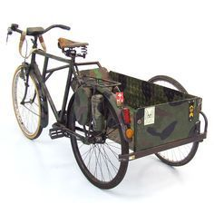 sidecar on bugout trike, survival cargo bike Velo Vintage, Vintage Bikes, Velo Tricycle, Bike With Sidecar, Velo Design, Velo Cargo, Materiel Camping, Bike Cart, Bug Out Vehicle
