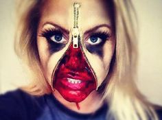 """It's Halloween time, when everyone tries to out-dress one another with the newest and coolest costumes, but there's always one makeup job that makes us say """"wow"""": The Zipper Face. Gory Halloween Makeup, Zombie Makeup, Skull Makeup, Sfx Makeup, Costume Makeup, Devil Makeup, Zipper Face Halloween, Halloween Make Up, Halloween Party"""