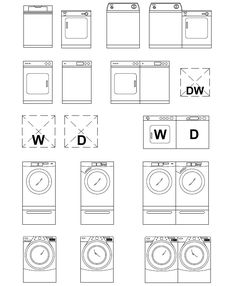 ArchBlocks AutoCAD Washer & Dryer Block Symbols