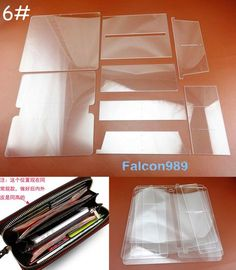 Details about 8pcs Leather Craft Acrylic Perspex Long Wallet Pattern Stencil Template Tool Set