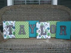 Canvas covered with scrapbook paper then painted wood letters is cute for displaying the name of the baby-to-be or child celebrating his or her birthday.