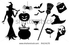 Halloween Silhouette Icons A collection of detailed Halloween silhouettes. EPS 8 vector file is grouped for easy editing, cleanly built with no open shapes or strokes. - stock vector