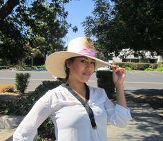 Ladies Floppy Solar Hat in pink scarf