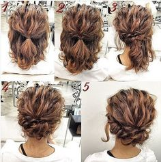 Romantic-Easy-Updo-Hairstyle-Tutorial-for-Short-Hair-Sweet-and-Simple-Prom-Hair-. - Romantic-Easy-Updo-Hairstyle-Tutorial-for-Short-Hair-Sweet-and-Simple-Prom-Hair-Styles Up Dos For Medium Hair, Medium Curly, Updos For Medium Length Hair Tutorial, Medium Length Hair Updos, Short Hair Updo Tutorial, Short Hair Tutorials, Hair Updos For Medium Hair, Medium Long, Homecoming Hair Tutorials