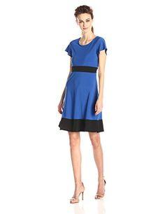 Star Vixen Womens Colorblock Short Sleeve Skater Dress Royal Black Large -- Click image for more details.