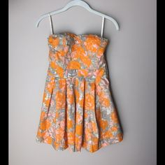 """Jessica Simpson Floral Dress Strapless Sweetheart Neckline. Padded and Straps Included (see pic). Length from Top of Bodice: 26"""". 100% Cotton. NWT. No Trades. Jessica Simpson Dresses"""