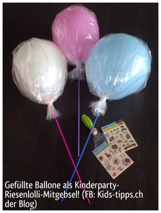 Mitgebsel mal anderst. Der Ballon ist mit Tattoos gefüllt.  Zum Befüllen den Kopf einer Petflasche abschneiden, Ballon drüber stülpen und nun befüllen. Danach normal aufblasen  https://m.facebook.com/Kindertraume
