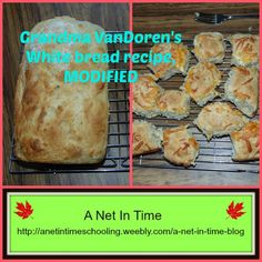 Tried out a new bread recipe this week.    A moist bread.   #bread #recipe http://anetintimeschooling.weebly.com/a-net-in-time-blog/recipe-grandma-vandorens-white-bread-modified