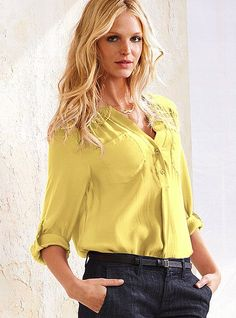 yellow blouse with men's style trouser