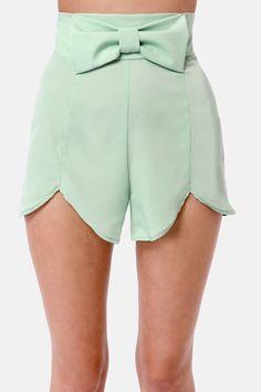 Cute Sage Green Shorts - Bow Shorts - High-Waisted Shorts - $34.00