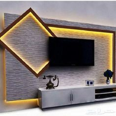 18 best TV wall elements with LED lighting that . - 18 best TV wall elements with LED lighting that … – lighting - Wall Unit Designs, Living Room Tv Unit Designs, Tv Wall Design, Ceiling Design, House Wall Design, 2 Storey House Design, Home Entertainment Centers, Entertainment Products, Deco Tv