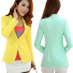 b83d2555cc760 Autumn Women Blazers And Jackets Candy Color Jacket Long Sleeve Slim Suit  One Button Women Jacket big Size Blazer - Bestsellinglover