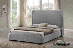 Baxton Studio Sheila Gray Linen Bed with Upholstered Headboard - Queen Size - Grey