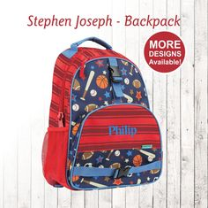 32565dd4d6 Personalized Sports Backpack Stephen Joseph Backpack Kids Backpacks