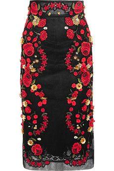 Dolce & Gabbana Embroidered mesh midi skirt | NET-A-PORTER