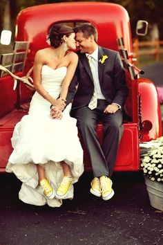 use back of old truck that is at barn and bring a pair of matching colorful converse-type shoes for a few pics