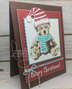 Grab your scarf and hat to stay warm this season. #babybear #snowplace #jollyfriends #stampinup #literallymyjoy #papercrafting #cardmaking #stampinupdemonstrator #christmas #holiday #bear #hat #scarf #heatembossing #2016HolidayCatalog #20162017AnnualCatalog #linkinprofile