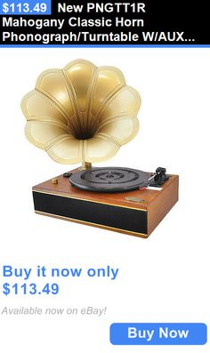 Vintage Record Players: New Pngtt1r Mahogany Classic Horn Phonograph/Turntable W/Aux Usb-To-Pc Connectio BUY IT NOW ONLY: $113.49
