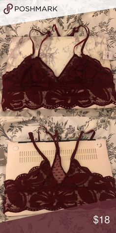 ce4c57fee9 Aerie Dark Red  Maroon Bralette XS This is not padded. The back is  adorable! I m 32A 30B for reference. aerie Other