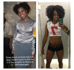 The only thing stopping you from the body you want is you.  Look at what @the_oma_life did.  Her results are amazing #naturalhair #teamnatural #naturallyluvly #fitness #workout #getfit