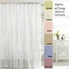 Bedbathstore 96 Extra Long White Pin Tuck Classic Pleated Fabric Shower Curtain By Interdesign