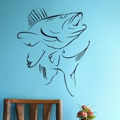 JUMPING ZANDER FISH LARGE VINYL WALL ART STICKER TRANSFER FISHING CARP KOI X03 | eBay