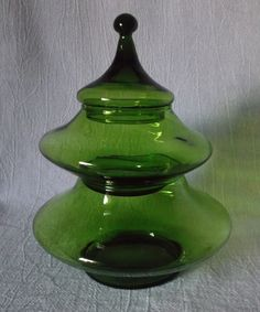 Empoli GREEN Candy Jar Stacking Christmas Tree Italy @iloveoldstuff #artdeco #holidays